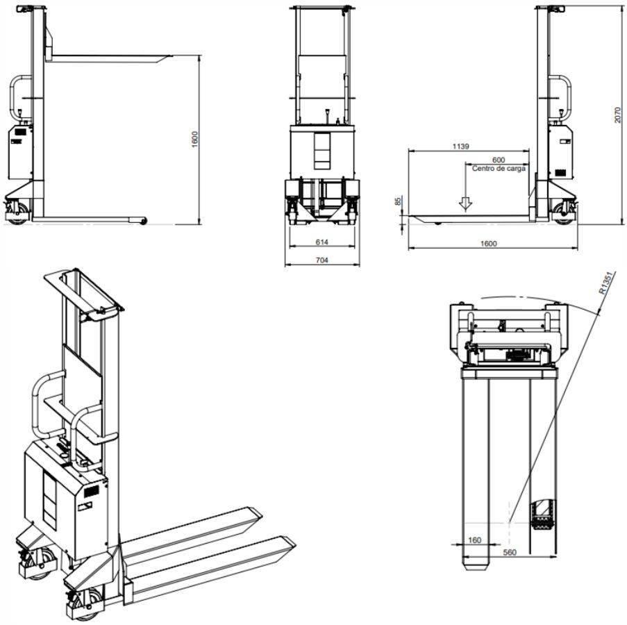 Empilhadeira Hidráulica Semi-Elétrica 1 Ton Emaster 13600 - CASA DO FRENTISTA