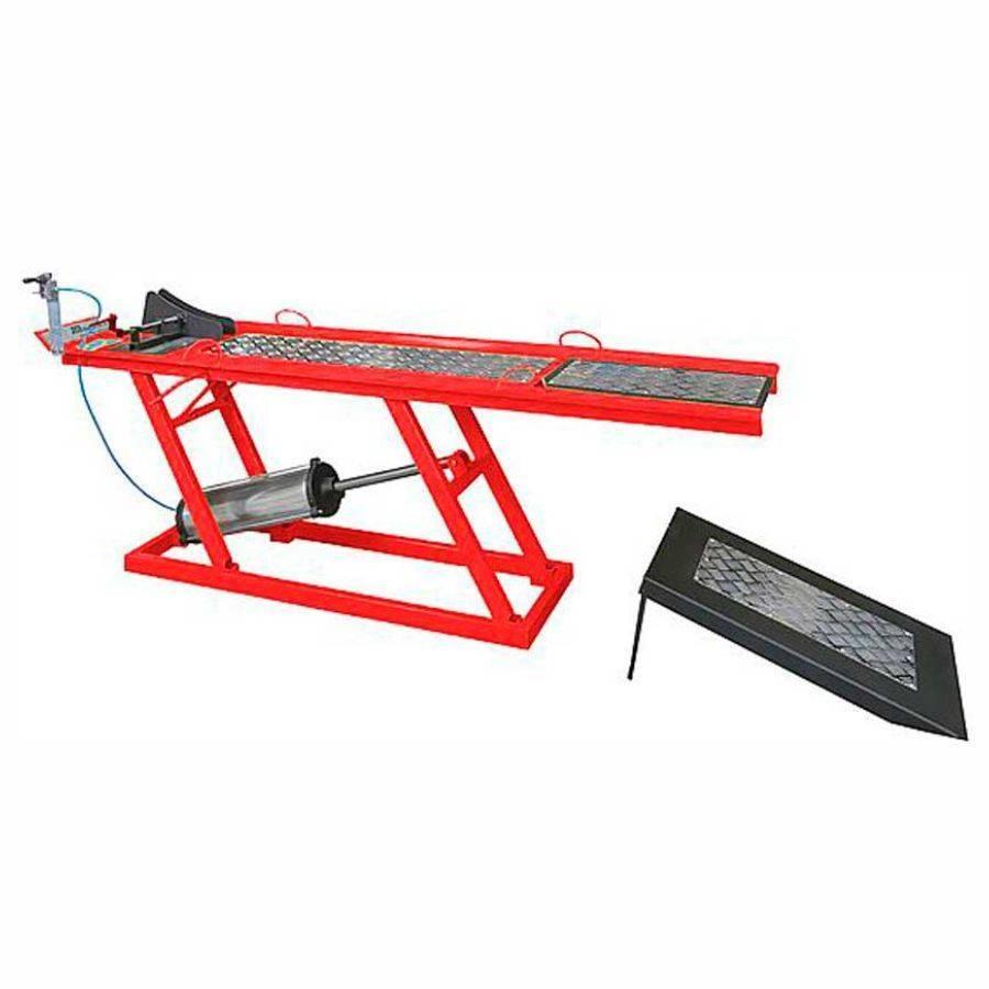 Elevador de motos Rampa Pneumática 1 Pistão Vermelho 250Kgs  - CASA DO FRENTISTA