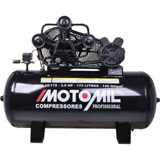 Compressor de ar 15 pés 175 Lts 5HP 140lbs Monofasico Motomil