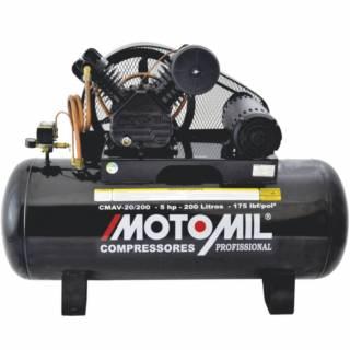 Compressor Motomil Industrial 20 pés 200 Lts 5HP 175lbs Trif