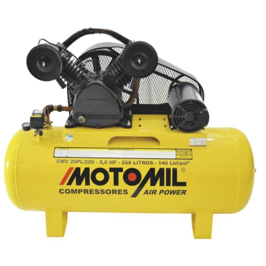 Compressor Motomil 20 pés 200 Litros 5HP 140lbs Trifásico  - CASA DO FRENTISTA