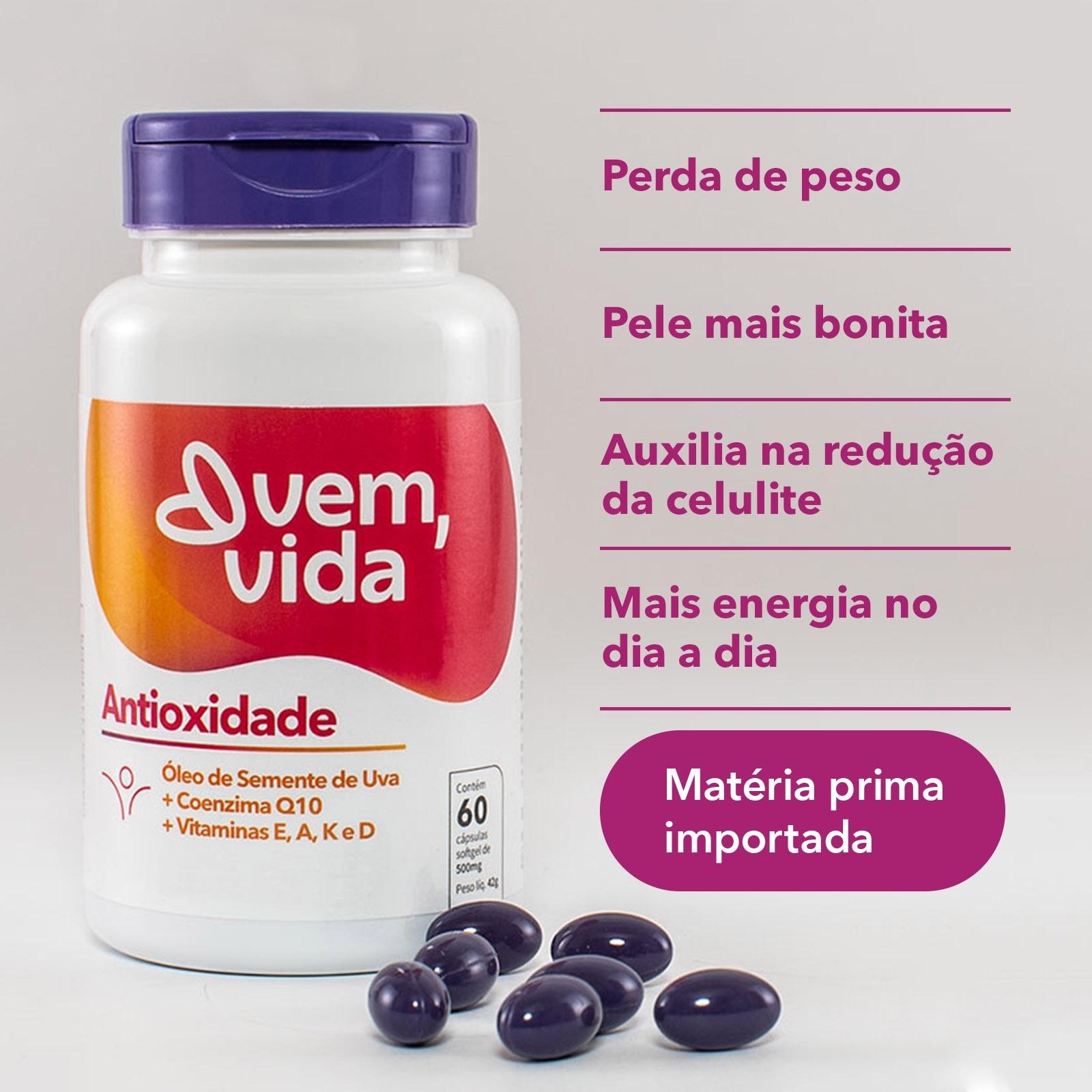 Antioxidade Vem, Vida - 500mg 60 cápsulas - Vem, Vida Suplementos