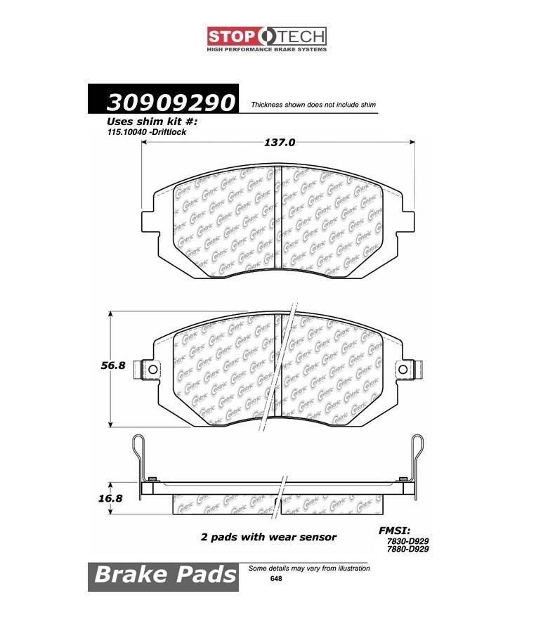 Pastilha de Freio Dianteira StopTech SPORT [WRX 08-14 / FXT 04-13 / FXS 03-18 / Impreza 08+] - Street Solutions