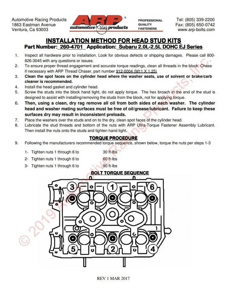 Prisioneiros De Cabeçote Arp 11mm Subaru Dohc Ej20 Ej25 - Street Solutions