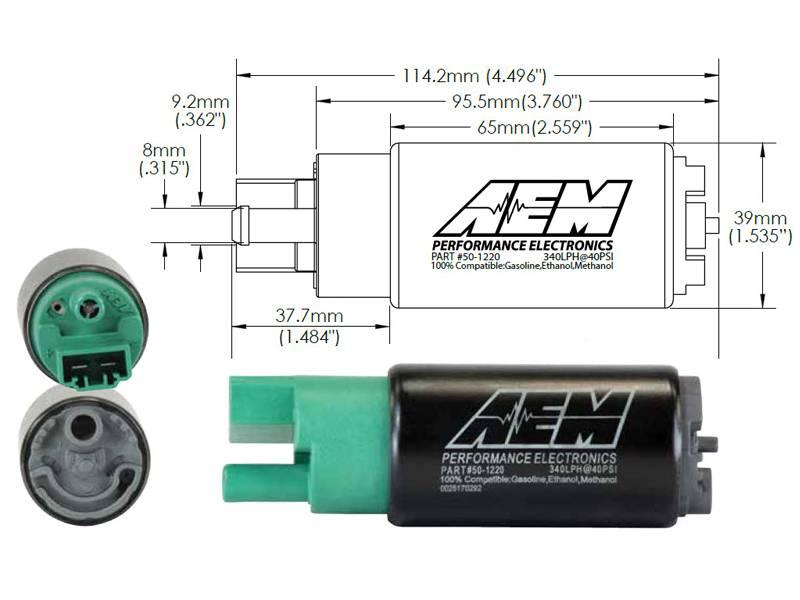 Bomba de Combustível Interna de Alto Fluxo AEM 340 LPH E100 - Street Solutions