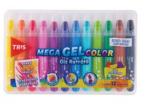 GIZ RETRATIL TRIS MEGA GEL COLOR 12 CORES - Papelaria Botafogo