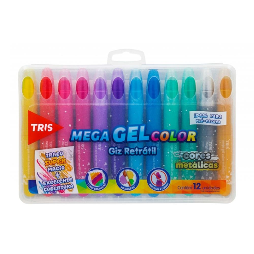 Giz Retratil Tris Mega Gel Color Metálico  12 cores - Papelaria Botafogo