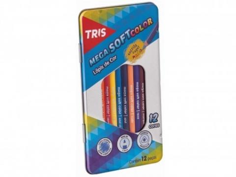 Estojo metálico de Lápis de Cor Tris Mega Soft Color 12 cores - Papelaria Botafogo