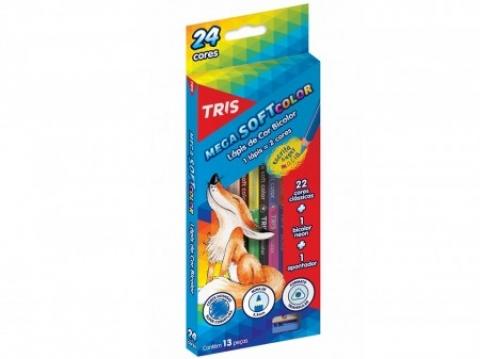 Lápis de Cor Bicolor Tris Mega Soft Color 12 lápis 24cores - Papelaria Botafogo