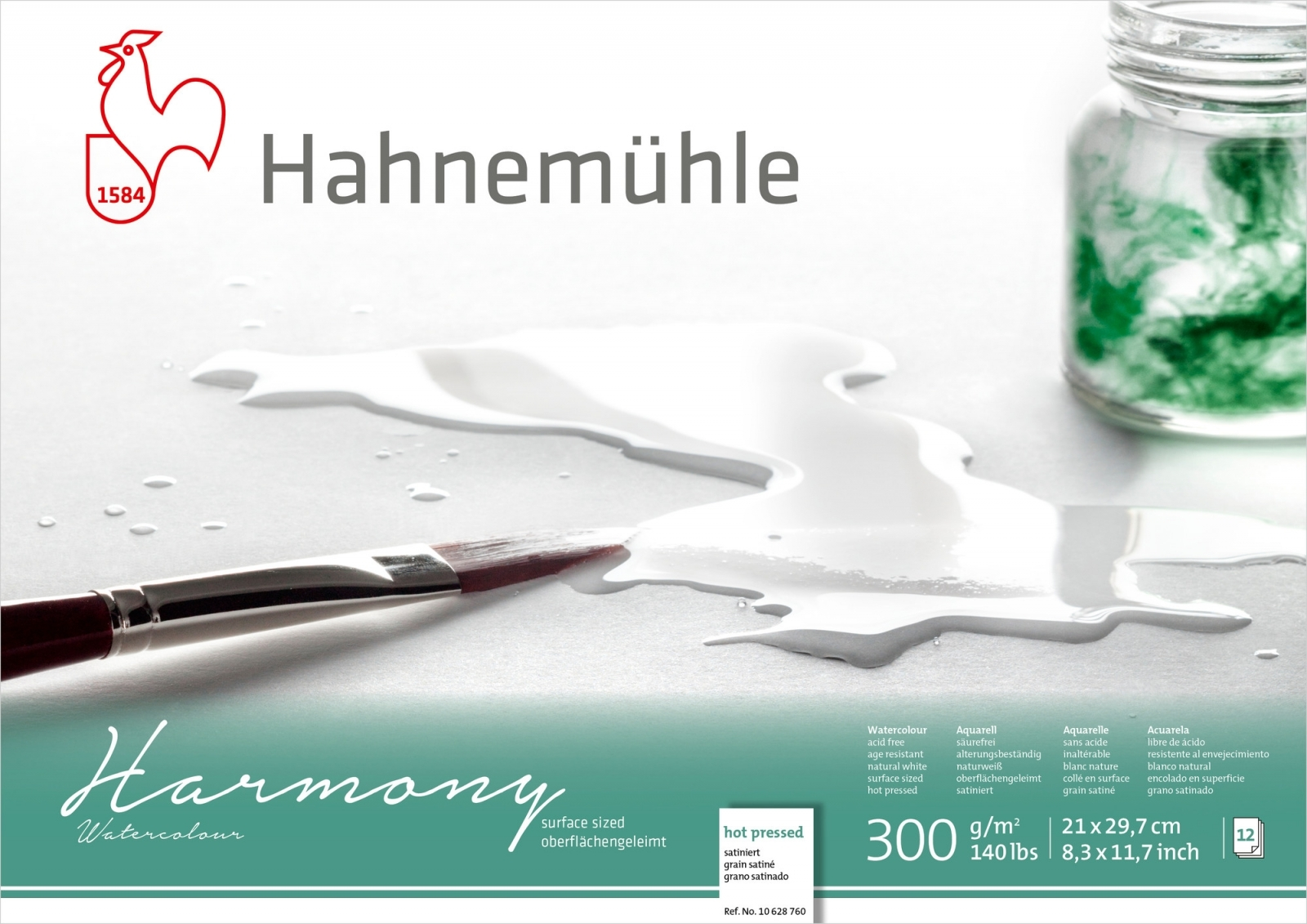 PAPEL HAHNEMUHLE HARMONY WATERCOLOUR, 300 G/M², HOT PRESSED 12fls 21X29,7cm - A4 (10628760) - Papelaria Botafogo