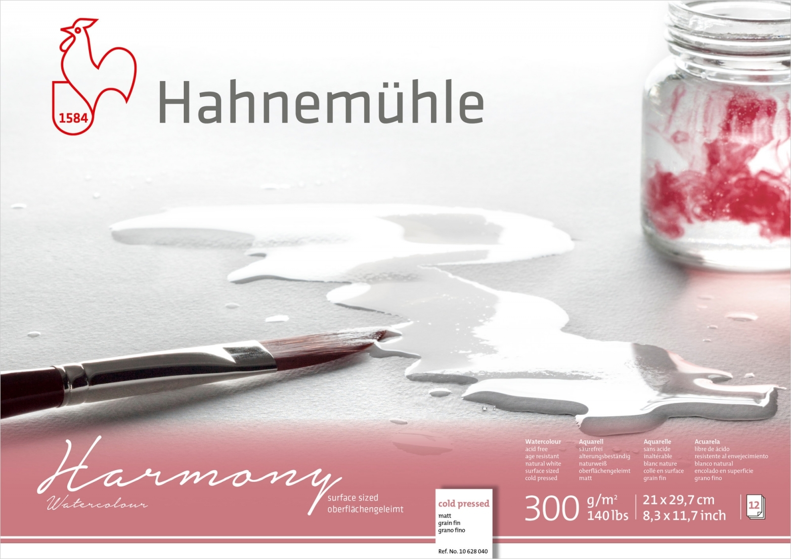 PAPEL HAHNEMUHLE HARMONY WATERCOLOUR, 300 G/M², COLD PRESSED 12fls 21x29,7cm- A4 (10628040) - Papelaria Botafogo