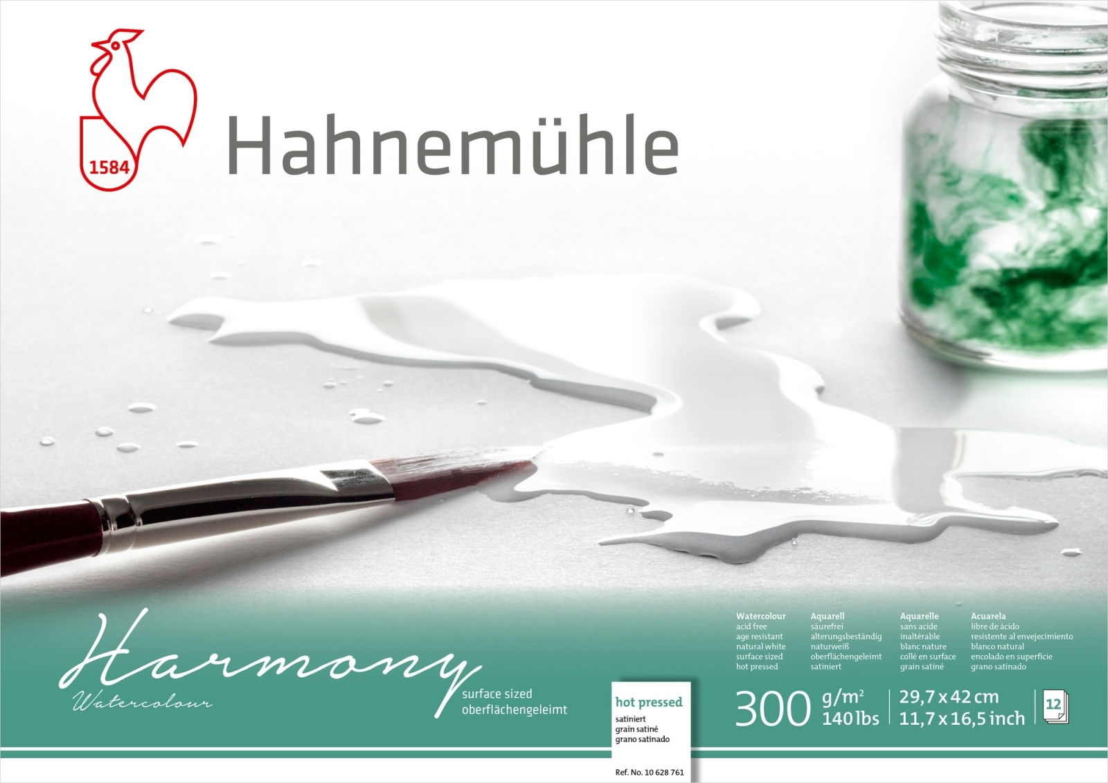 PAPEL HAHNEMUHLE HARMONY WATERCOLOUR, 300 G/M², HOT PRESSED 12fls 29,7X42cm - A3 (10628761) - Papelaria Botafogo