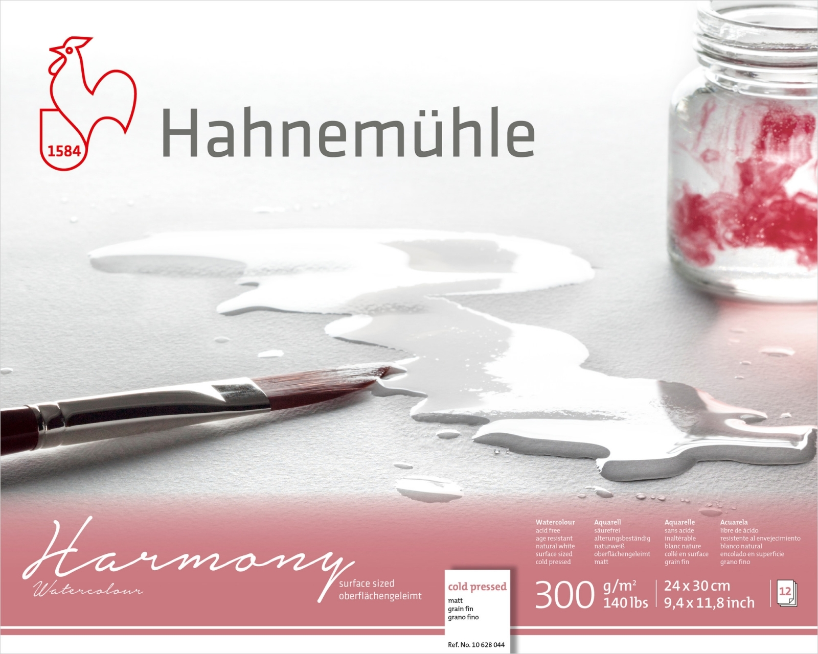 PAPEL HAHNEMUHLE HARMONY WATERCOLOUR, 300 G/M², COLD PRESSED 12fls 24x30 (10628044) - Papelaria Botafogo