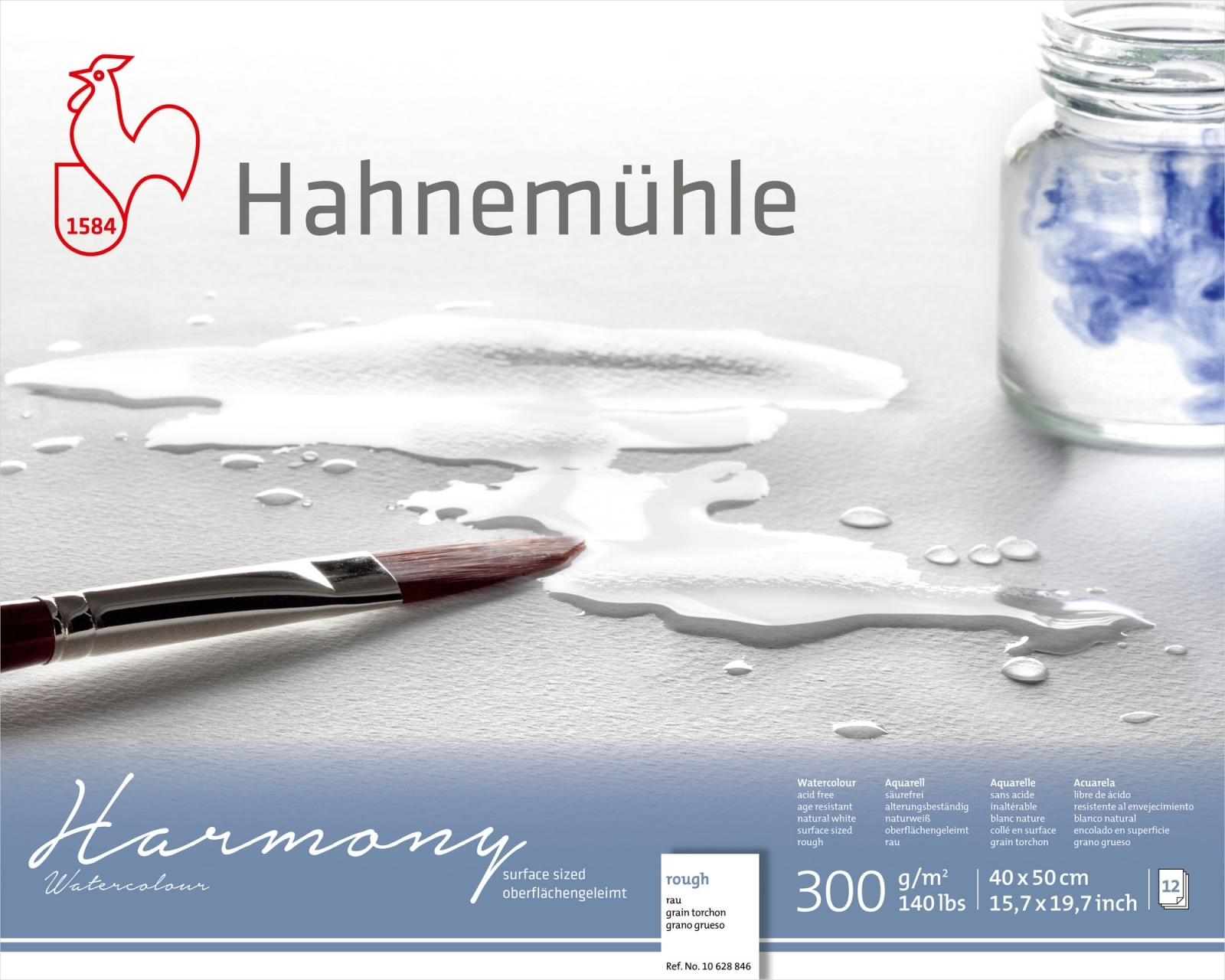 PAPEL HAHNEMUHLE HARMONY WATERCOLOUR, 300 G/M², ROUGH 12fls 40x50 (10628846)  - Papelaria Botafogo
