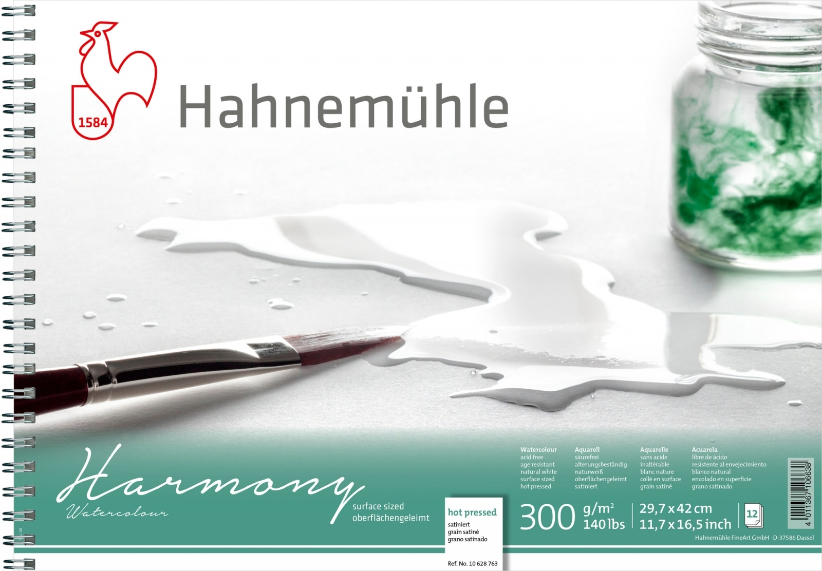 PAPEL HAHNEMUHLE HARMONY WATERCOLOUR, 300 G/M² HOT PRESSED 12fls 29,7X42cm - A3 C/ESPIRAL (10628763) - Papelaria Botafogo