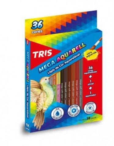 Lápis de Cor Tris Mega Aquarell Color 36 cores - Papelaria Botafogo