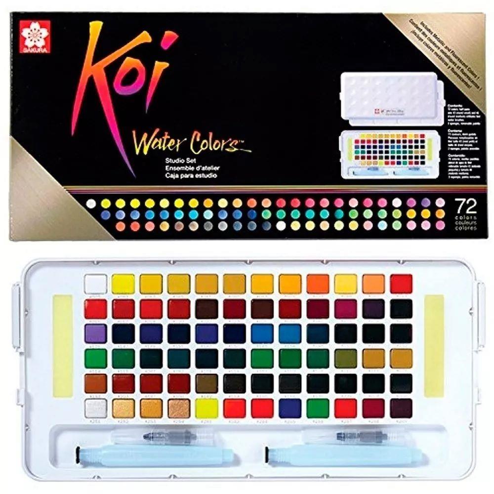 Aquarela Koi Water Colors Estojo com 72 cores Sakura - Papelaria Botafogo