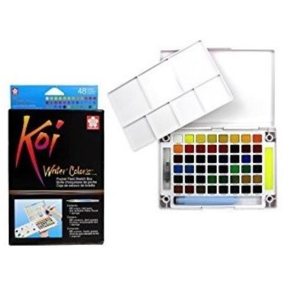 Aquarela Koi Water Colors Estojo com 48 cores Sakura - Papelaria Botafogo