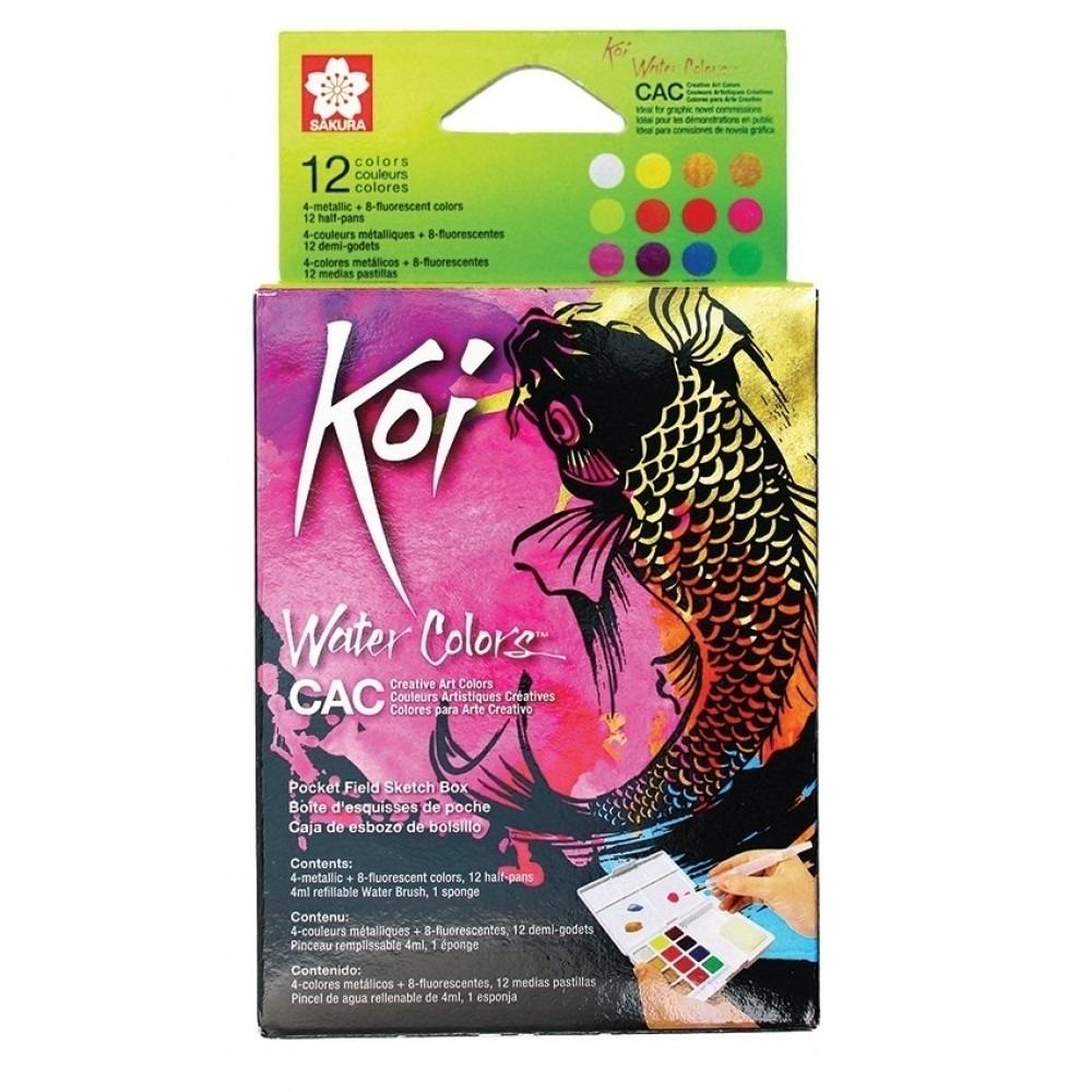 Aquarela Koi Water Colors CAC - Estojo com 12 cores Sakura - Papelaria Botafogo