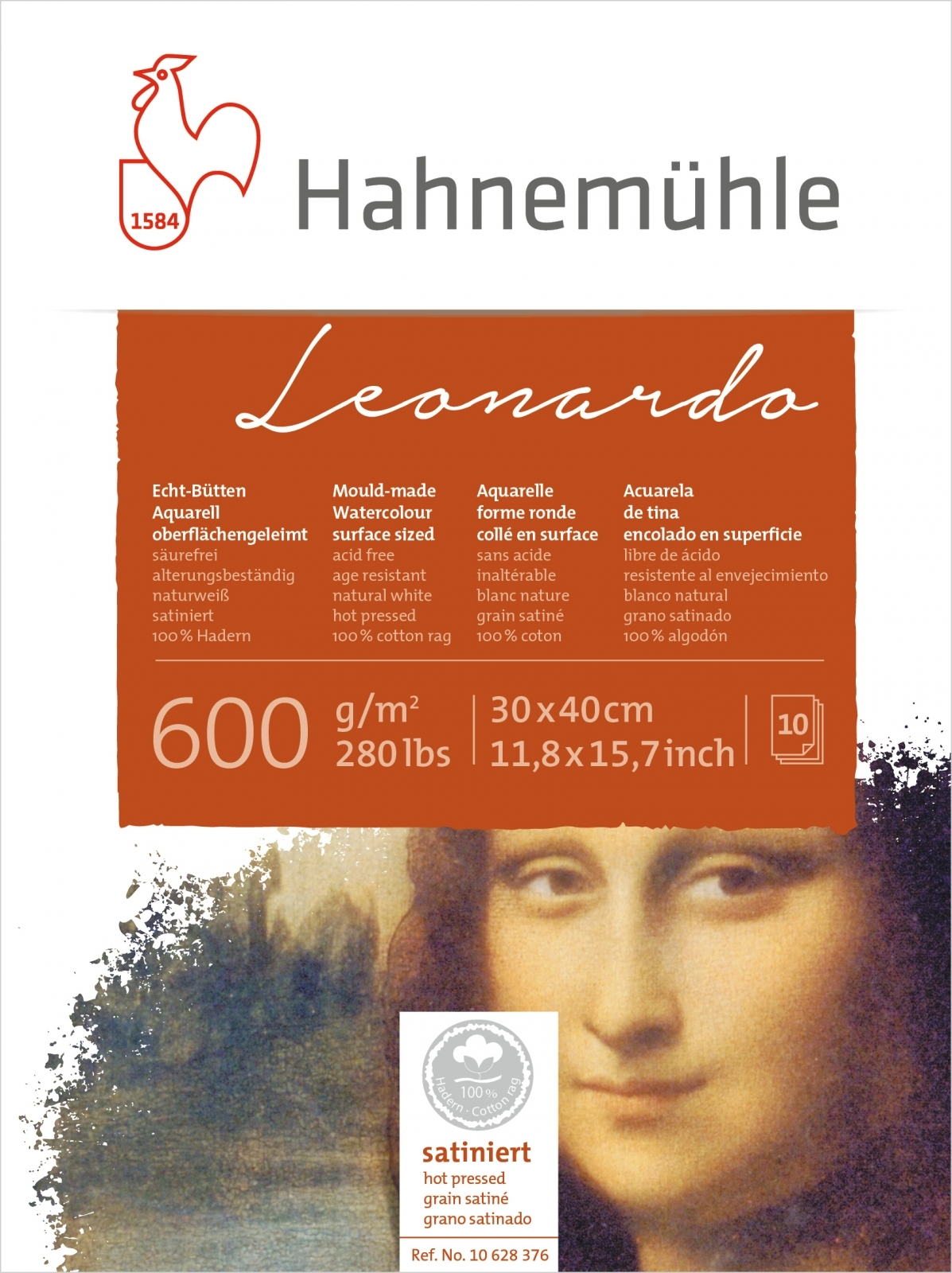 Papel Hahnemuhle Leonardo Textura Satinada 600g/m2 30x40 10f - Papelaria Botafogo