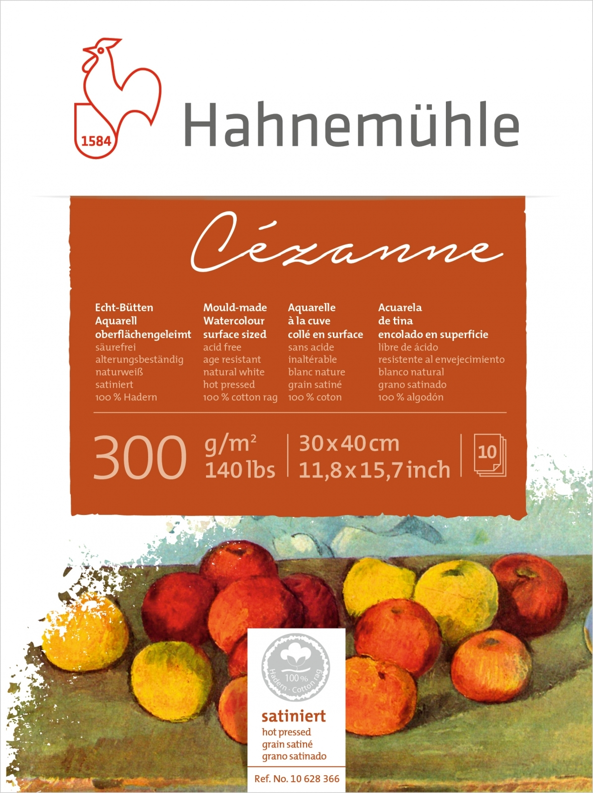 PapeL Hahnemuhle Cezanne Textura Satinada 300g/m2 30x40 10fls (10628366) - Papelaria Botafogo