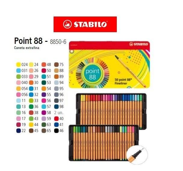 Stabilo  Point 88 Estojo com 50 Cores 0,4 (8850-6)  - Papelaria Botafogo