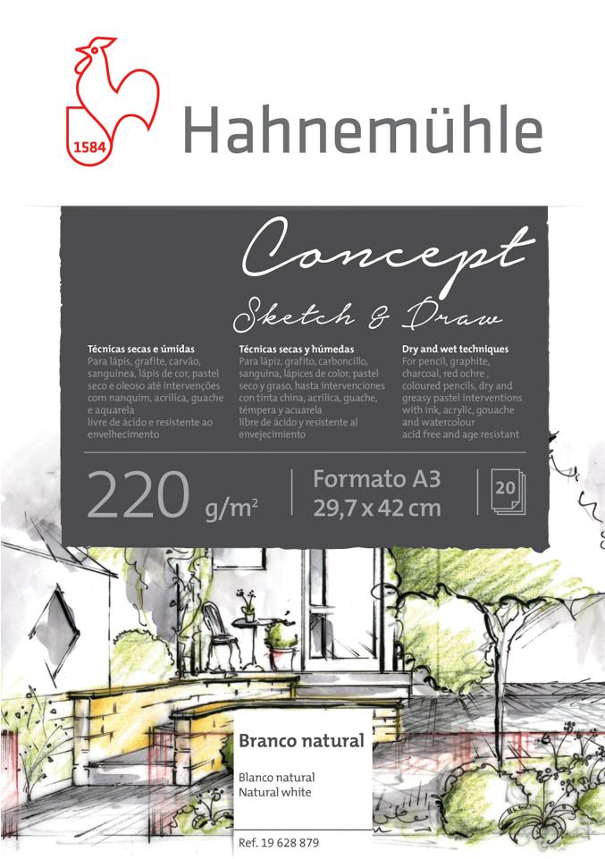 Papel Hahnemuhle Concept Sketch & Draw 220g A3 20f(19628879) - Papelaria Botafogo