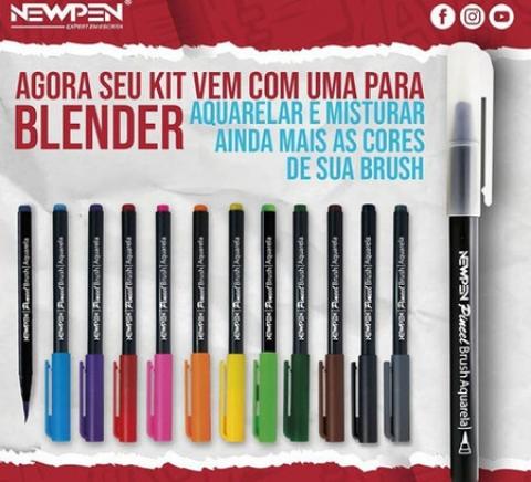 Caneta Newpen Pincel Artistico Hidrocor Ponta Brush 16 canet - Papelaria Botafogo