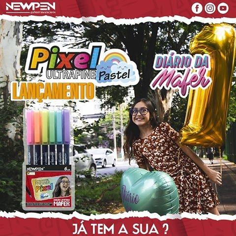 Caneta Pixel Fineleiner 6 Cores Pastel Mafer Newpen - Papelaria Botafogo