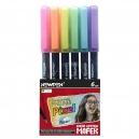 Caneta Pixel Fineleiner 6 Cores Pastel Mafer Newpen