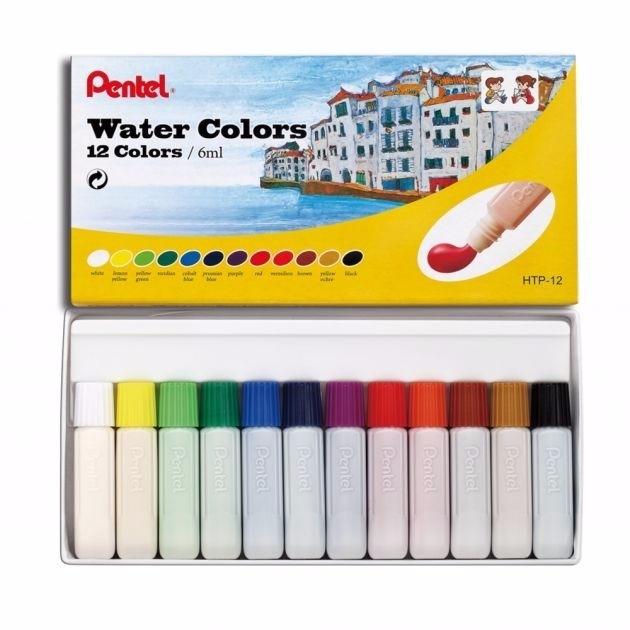 Aquarela Pentel Water Colors com 12 cores (HTP-12) - Papelaria Botafogo