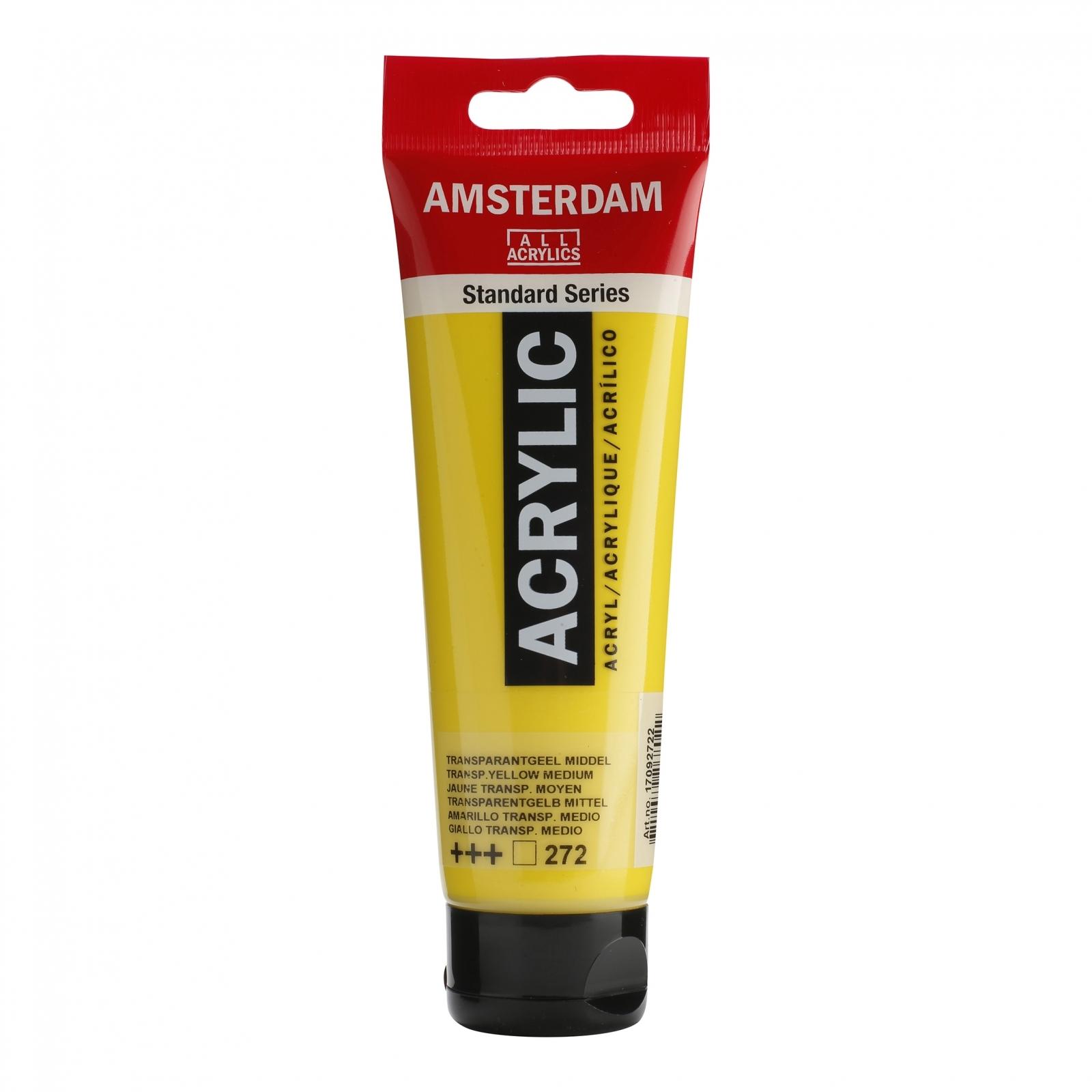 Tinta Acrílica Amsterdam Amarelo Transparente Médio 120ml (+++272) - Papelaria Botafogo