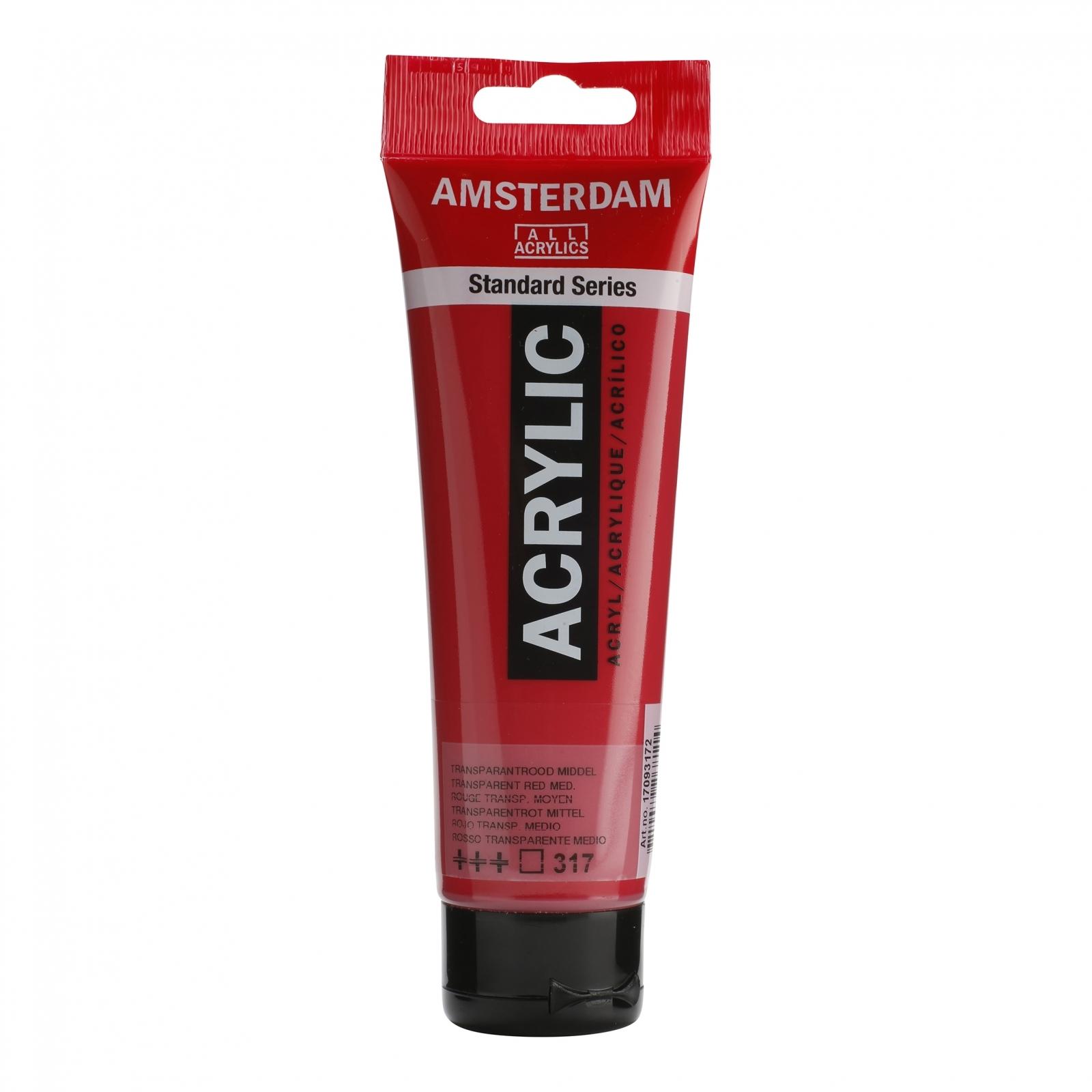 Tinta Acrílica Amsterdam Vermelho Transparente Médio 120ml (+++317) - Papelaria Botafogo