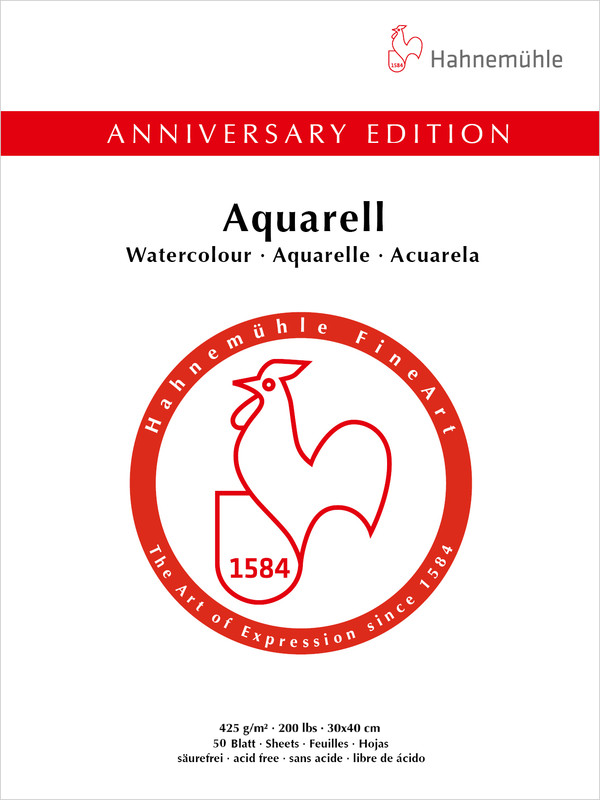 Bloco Aquarela Anniversary ED.425 g/m 30x40 50fls (10650171) - Papelaria Botafogo