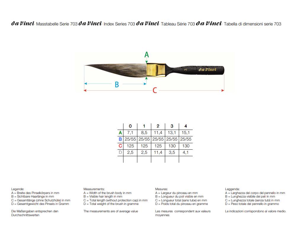 Pincel Faca da Vinci Casaneo 703 1 (Sword Striper) - Papelaria Botafogo