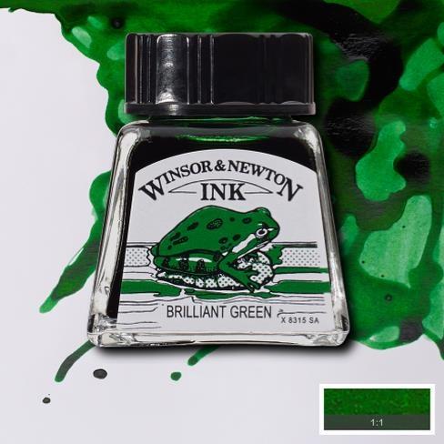 Tinta para Desenho Winsor & Newton Verde Brilhante 14ml (1005046) - Papelaria Botafogo