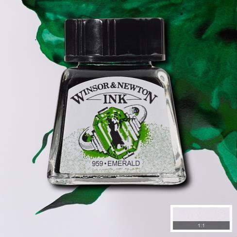 Tinta para Desenho Winsor & Newton Esmeralda 14ml (1005235) - Papelaria Botafogo