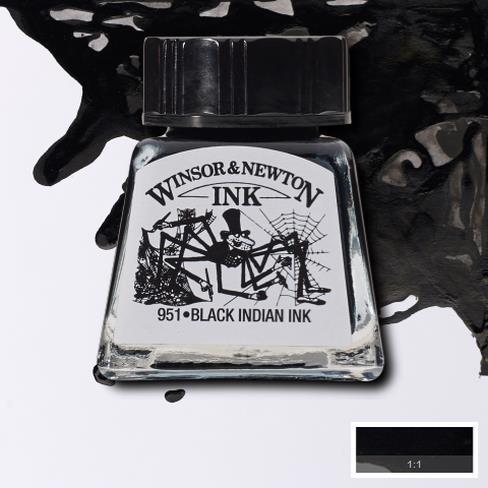 Tinta para Desenho Winsor & Newton Preta 14ml (1005030) - Papelaria Botafogo