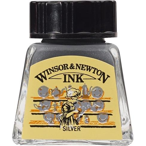 Tinta para Desenho Winsor & Newton Prata 14ml (1005617) - Papelaria Botafogo