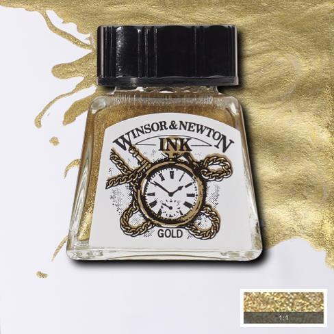 Tinta para Desenho Winsor & Newton Ouro 14ml (1005283) - Papelaria Botafogo