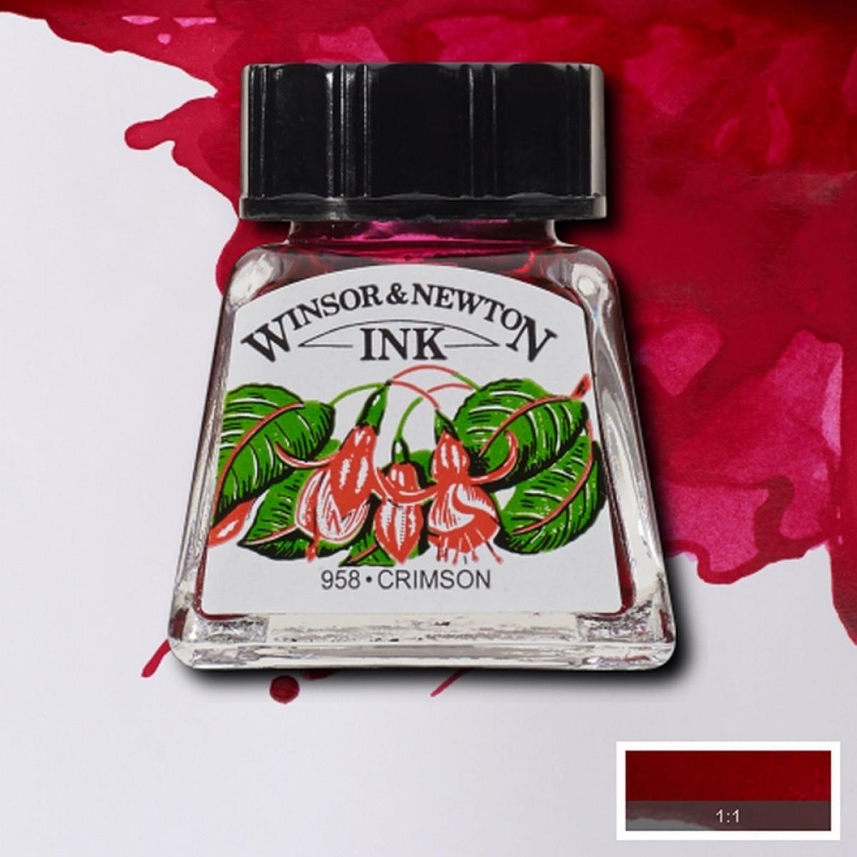 Tinta para Desenho Winsor & Newton Carmesim 14ml (1005203) - Papelaria Botafogo