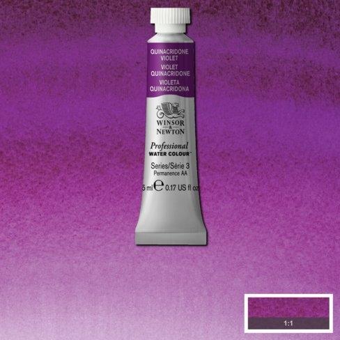 Tinta Aquarela Profissional Winsor & Newton Violeta Quinacridone tubo 5ml S3 (0102550) - Papelaria Botafogo