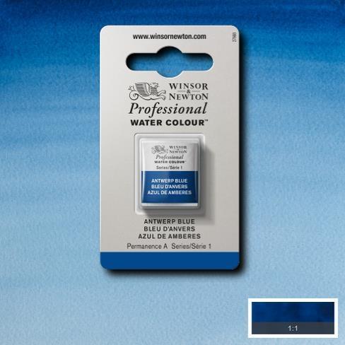 Tinta Aquarela Profissional W&N Azul Amberes Pastilha S1 (0101010) - Papelaria Botafogo