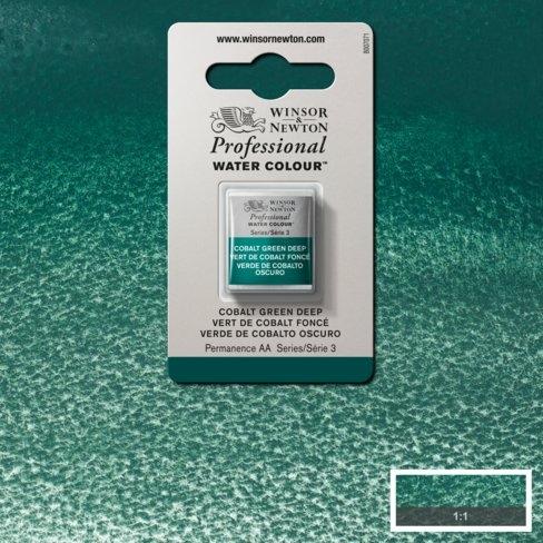 Tinta Aquarela Profissional W&N Verde Cobalto Escuro Pastilha S3 (0101185) - Papelaria Botafogo