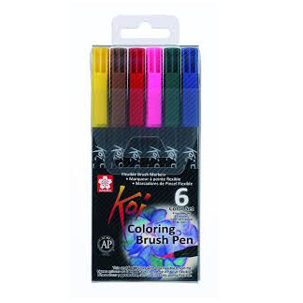 Caneta Pincel Artistico Koi Coloring 6 Cores XBR-6B - Papelaria Botafogo