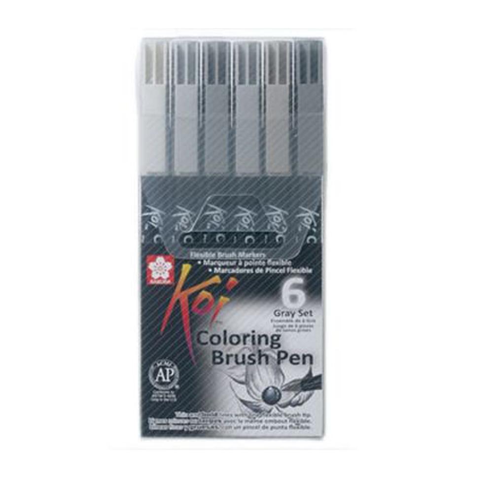 Caneta Pincel Artistico Koi Coloring 6 Cores XBR-6 - Papelaria Botafogo