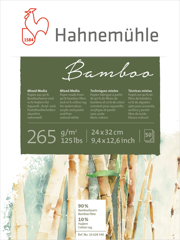 Bloco Hahnemuhle Bamboo 265g/m2 24x32 50fls (10650180) - Papelaria Botafogo