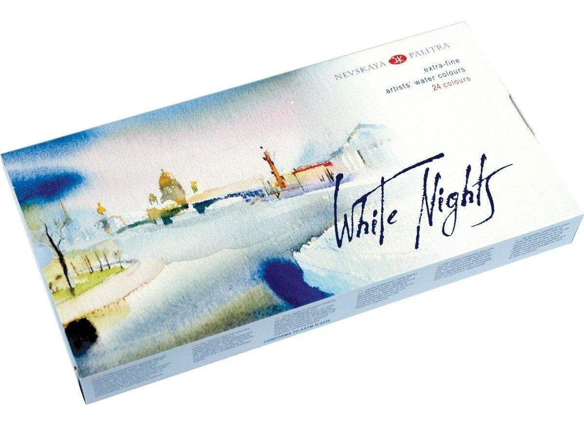 Kit 24 Tintas Aquarela White Nights em Pastilha 90 - Papelaria Botafogo