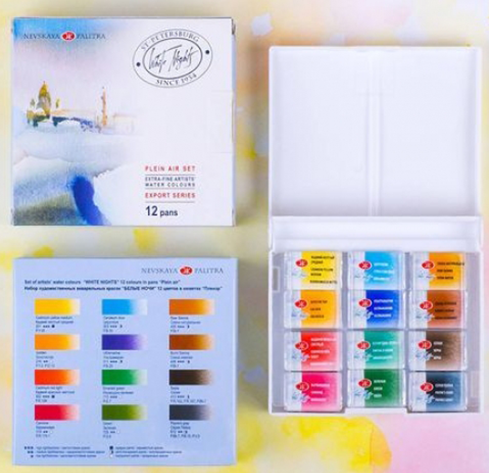 Kit 12 Tintas Aquarela White Nights Pastilha 1193 - Papelaria Botafogo