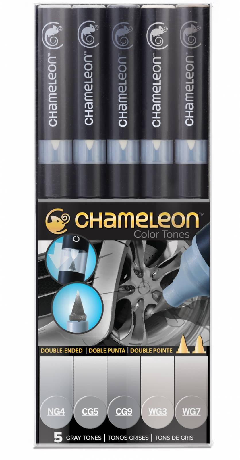 Kit Chameleon 5 canetas - Tons de Cinza - Papelaria Botafogo